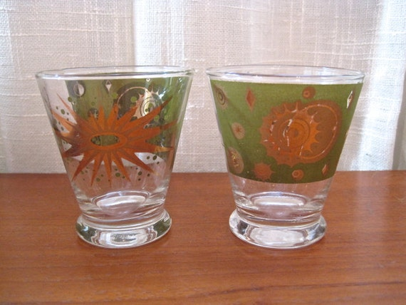 Mid century shot glasses pair starburst 1950s 1960s atomic sun - Starburst glassware ...