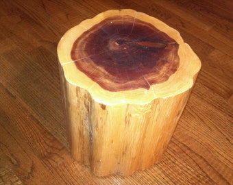 "Red Cedar Stump Stool Table Photo Prop Plant Stand 9"" - 10"" diameter"
