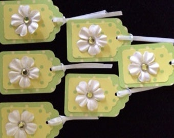 Polka Dot Flower Gift Tags - Set of 6