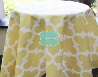 Tablecloth - Premier Prints - FYNN - Saffron Yellow Macon - Choose Your Size - Table Linen Wedding Home Decor Dining Kitchen