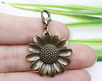Own Charm ~-Antique Bronze Sunflower Charms Flower Charms 25mm