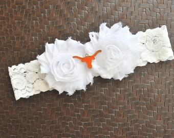 Texas Longhorns Wedding Garter, Texas Longhorns Bridal Garter, White Lace Wedding Garter, Football Wedding Garter, Longhorns Garter