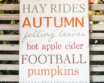 Fall Typography wooden wall sign