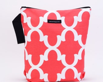 Wet Bag with changing pad- waterproof lining, Limited Edition LATTICE CORAL.  Zipper Closure