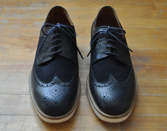 Men&39s Navy Blue Leather &amp Canvass Wingtip Dress Shoes by DopeChest