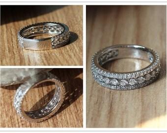 14k White Gold Pave 1.1ct Diamond Ring/ Engagement Ring/Diamond Wedding Ring/Unique 3/4 Eternity Diamond Wedding Band/Anniversary Ring