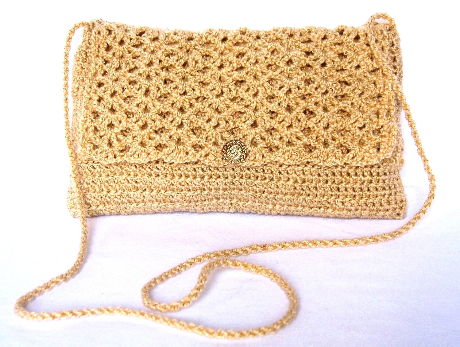 Crocheted Gold Evening Bag With Embossed Gold Tone Button and