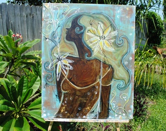 That Girl #2 an Original Mixed Media Painting by Leslie Flynn on a 30x24 canvas
