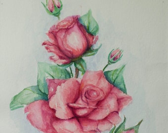 Pink rose aquarelle, Flowers painting, Roses Painting, Still Life, Original Watercolor Painting, aquarelle, floral art