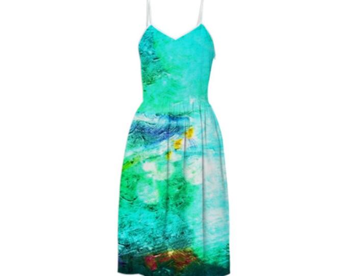 Cool Blue Sky Fashion Dress - Sleeveless Sundress,Braces Dress, Suspender Summer dress,Party Dress, Long Dress, Day Dress, Custom-Made Dress