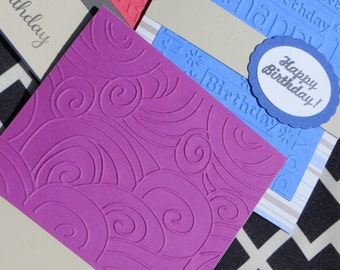 SASSY: Handmade Variety Cards Pack- A Classic Happy Birthday, Assorted 3 Pack