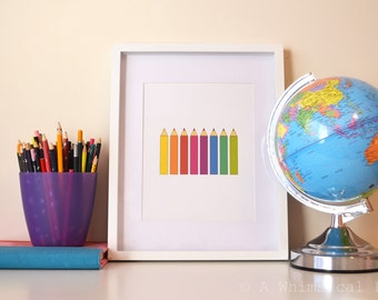 INSTANT DOWNLOAD Pencils Nursery Children's Art Print 8x10 Bright Colors