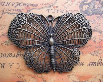 2pcs 45x65mm Huge Hollow Butterfly Charms