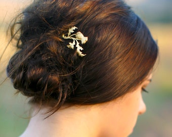 Gold Scottish Thistle Hair Pin  Branch, Leaf & Flower Scotland Leaf Bobby Pin Gift For Her