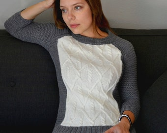 INSTANT DOWNLOAD PDF Knitting Pattern for Women's Aran Sweater Jumper Garter stitch and Cable