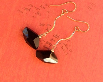 Black Swarovski Crystal Earrings, 14K Gold Filled, Long Earrings, thehappylittlebeader