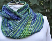 Summery, Light-weight, Blue & Green Handknit Merino-Silk Infinity Scarf; Boho Hand-knit Infinity Scarf; Circle Scarf