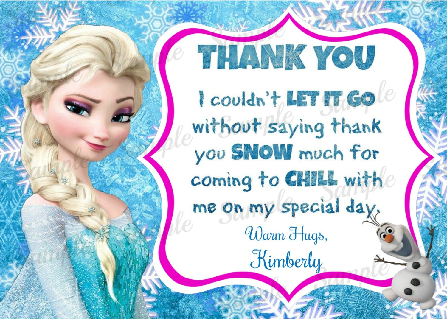 Frozen Thank You Printable Frozen Inspired Thank You Note