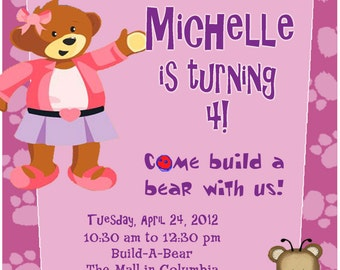 Personalized Customized Build A Bear Birthday Invitation