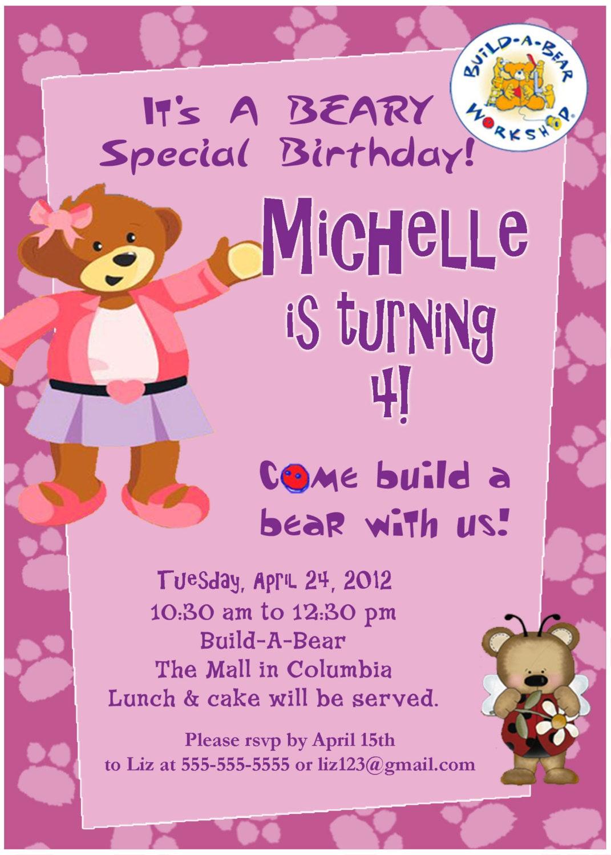 Personalized Customized Build A Bear Birthday Invitation