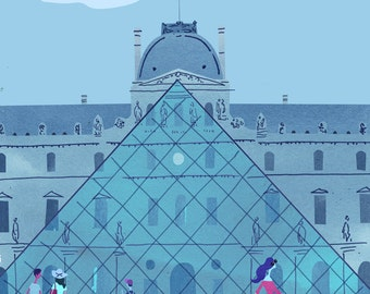 Museums, Louvre. Limited edition print.