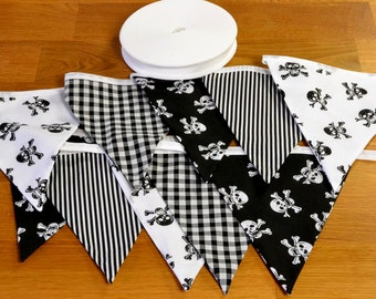 Black and White Pirate double sided fabric bunting, 10, 15 or 20 flags.