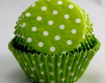 Lime Green Polka Dot Cupcake Papers