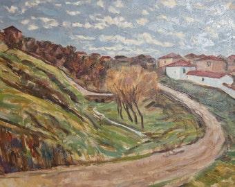 Antique European art oil painting landscape mountain village