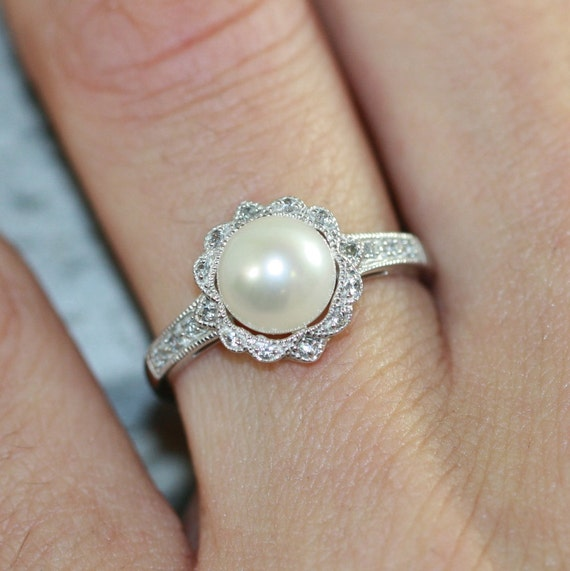 Pearl Wedding Rings: Vintage Inspired Floral Pearl Ring In 10k White Gold Pearl