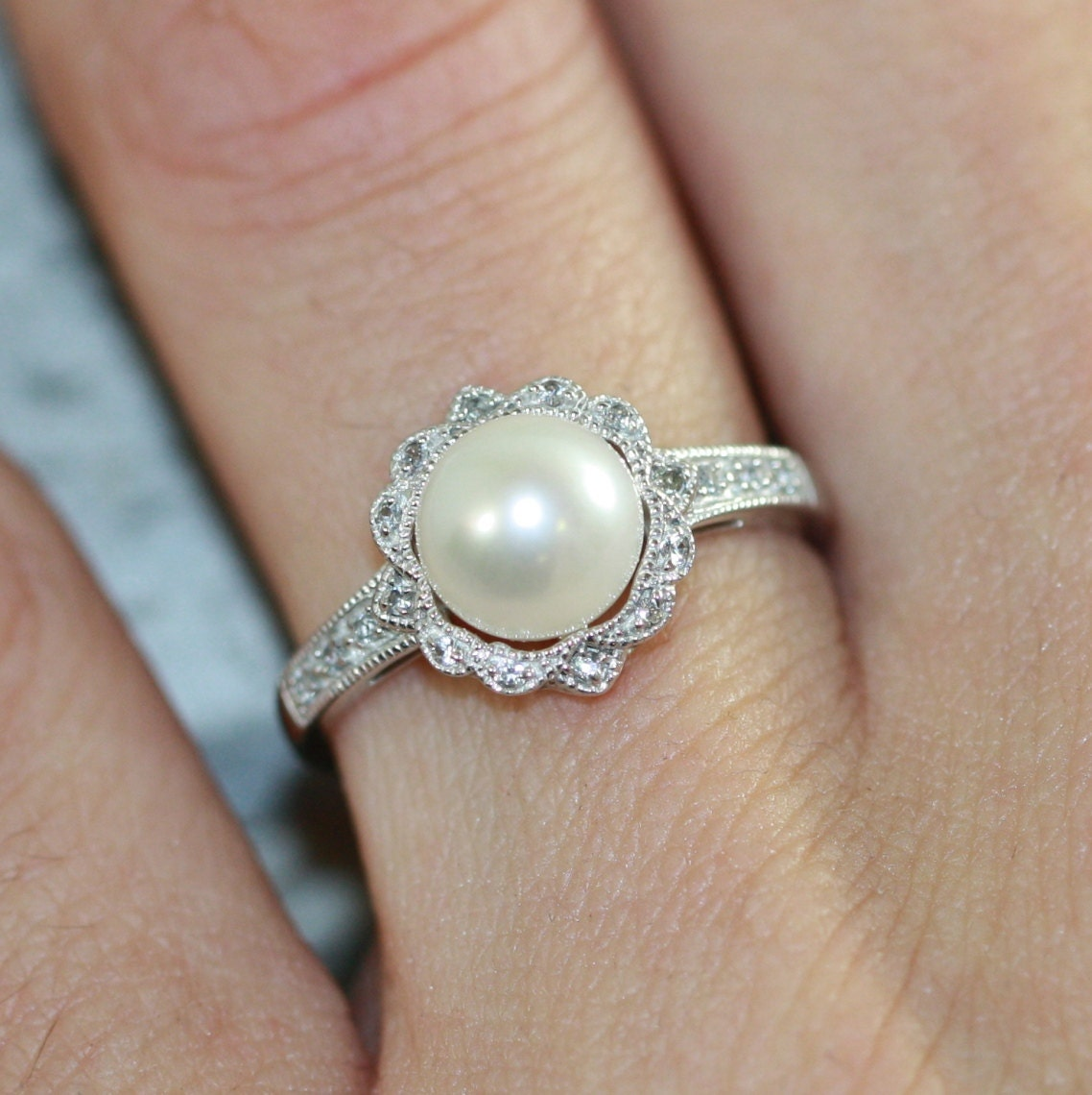 Pearl Wedding Ring: Vintage Inspired Floral Pearl Ring In 10k White Gold Pearl