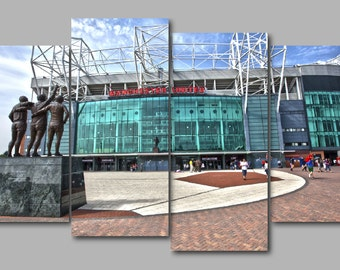 Old Trafford Manchester United Football Stadium 4 Panel Split Canvas Picture Wall Art