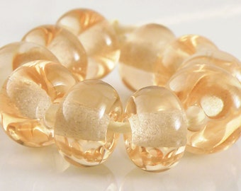 068 Transparent Peach Made to Order SRA Lampwork Handmade Artisan Glass Spacer Beads Set of 10 5x9mm