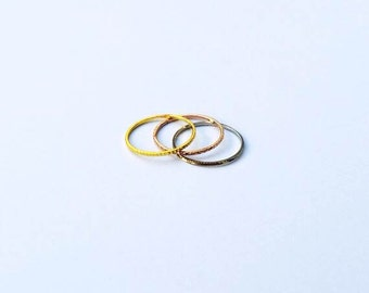 3 Thin Stackable Rings, Gold, Rose Gold, Silver
