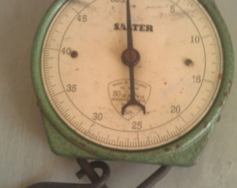 Vintage Salter Hanging Scale Green 50 lb No. 235