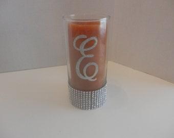 "10 Wedding centerpiece,  9"" HRhinestones Wedding centerpiece, glass candle holder or flower vase centerpiece with initial from A-Z"