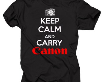 Canon T-shirt Keep Calm and Carry Canon T-shirt  Photographer Tee Shirt