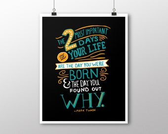 INSTANT DOWNLOAD Two Most Important Days Inspirational Digital Download Print and Media Pack