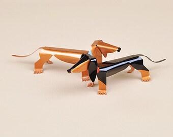 """Dachshund Dog Sculpture 4"""" long Handmade Copper Miniature"""