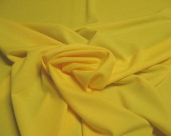 """Bright Yellow 100% Polyester Classic Jet Set Knit Fabric 4 Way Stretch 55"""" Wide By The Yard"""