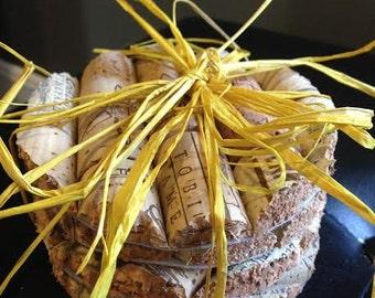 Round Wine Cork Coasters, Set of 4