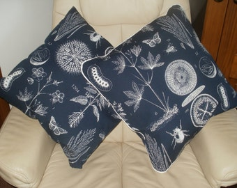 Cushion Cover with button fastening in Biology Print - Piped and Plain