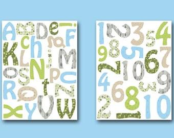 Numbers Nursery Alphabet Nursery Baby Nursery Baby Boy Nursery Printable Print Digital Download Print set of 2  8x10 11X14 INSTANT DOWNLOAD