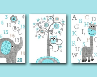 Giraffe Nursery Alphabet Nursery Download Art Printable Nursery Baby Boy Nursery Baby Art Digital Print set of 3 8x10 11X14 INSTANT DOWNLOAD