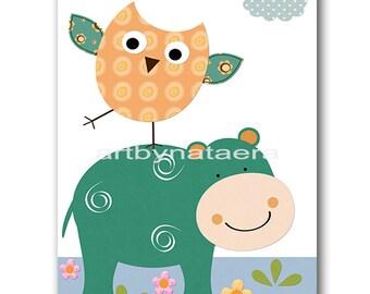 Hippopotamus Nursery Print Kids Art Baby Nursery Printable Digital Baby Art Print Digital Download Print 8x10 11X14 INSTANT DOWNLOAD Print