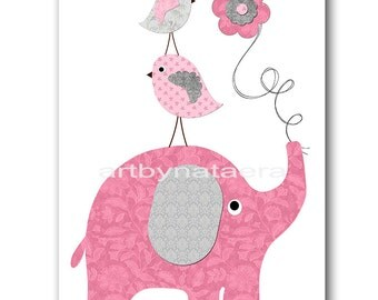 Elephant Nursery Art Printable Art Nursery Digital Download Children Art Baby Girl Nursery Digital Download Art 8x10 11X14 INSTANT DOWNLOAD