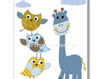 INSTANT DOWNLOAD Art Owl Nursery Digital Print Baby Boy Nursery Giraffe Nursery Printable Wall Art Digital Download Art 8x10 11X14 Blue