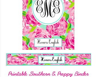 Lilly Pulitzer Inspired Binder Cover and Spine Digital File
