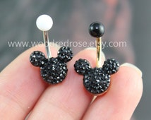 Black Mouse Black Crystal belly button ring,Stud Bar Barbell Navel Piercing Ring Stud Piercing