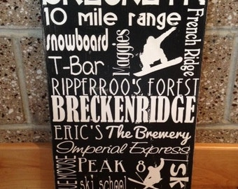 SALE Distressed Wooden City Sign Breckenridge 12x20""