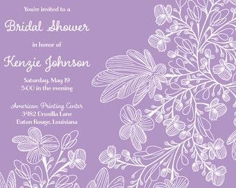 purple floral shower invitation